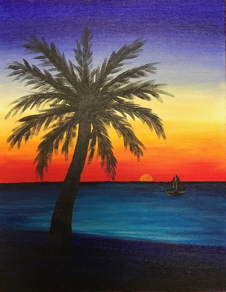 Acrylics Made Easy – Beach Sunset Painting Class at Aiken ... Easy Beach Sunset Paintings