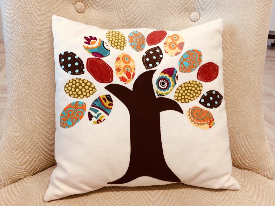 Mini sewing camp fall applique tree pillow