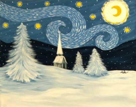 Image result for snowy night van gogh